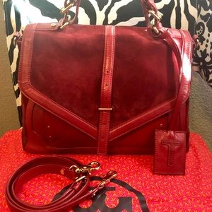 Tory Burch 797 red suede/leather satchel